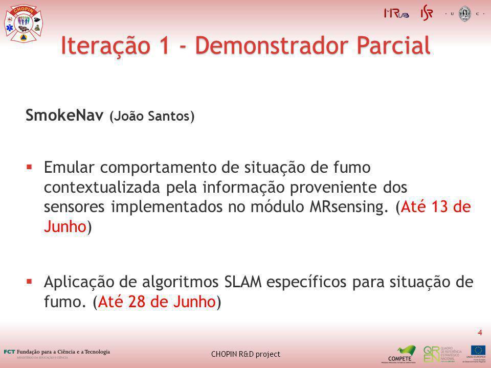 Iteração 1 - Demonstrador Parcial 4 CHOPIN R&D project SmokeNav (João Santos) Emular comportamento de situação de fumo contextualizada pela informação proveniente dos sensores implementados no módulo MRsensing.