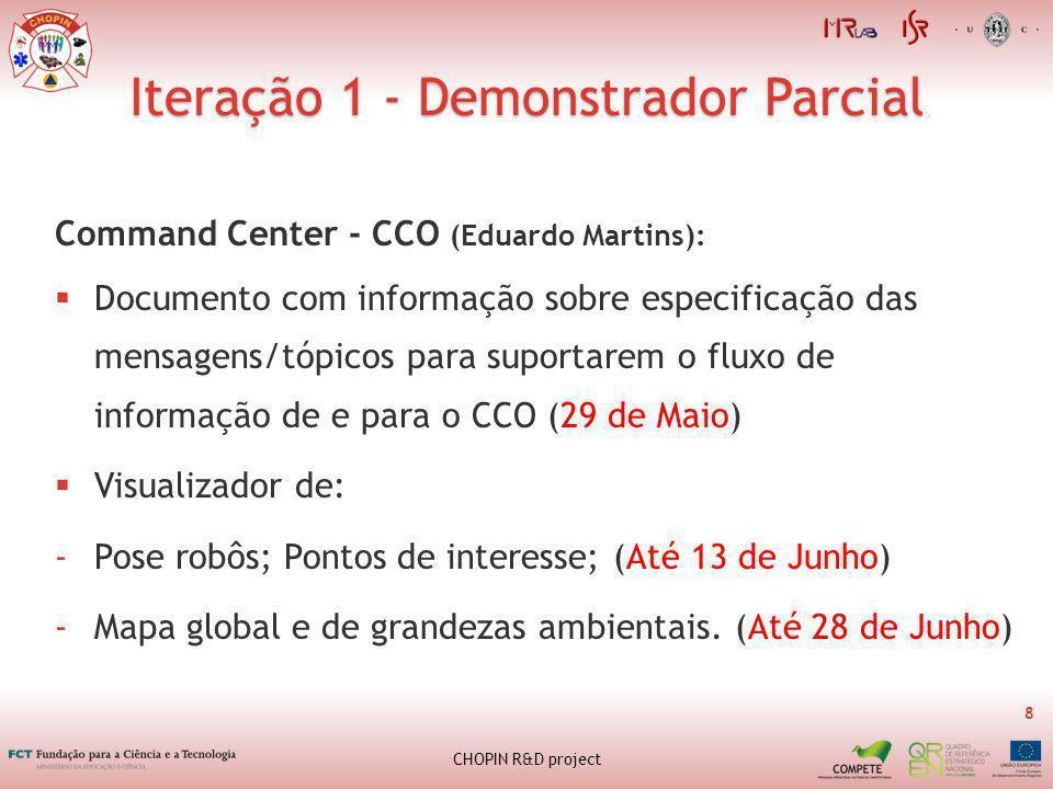 Iteração 1 - Demonstrador Parcial 8 CHOPIN R&D project Command Center - CCO (Eduardo Martins): Documento com informação sobre especificação das mensagens/tópicos para suportarem o fluxo de informação de e para o CCO (29 de Maio) Visualizador de: -Pose robôs; Pontos de interesse; (Até 13 de Junho) -Mapa global e de grandezas ambientais.