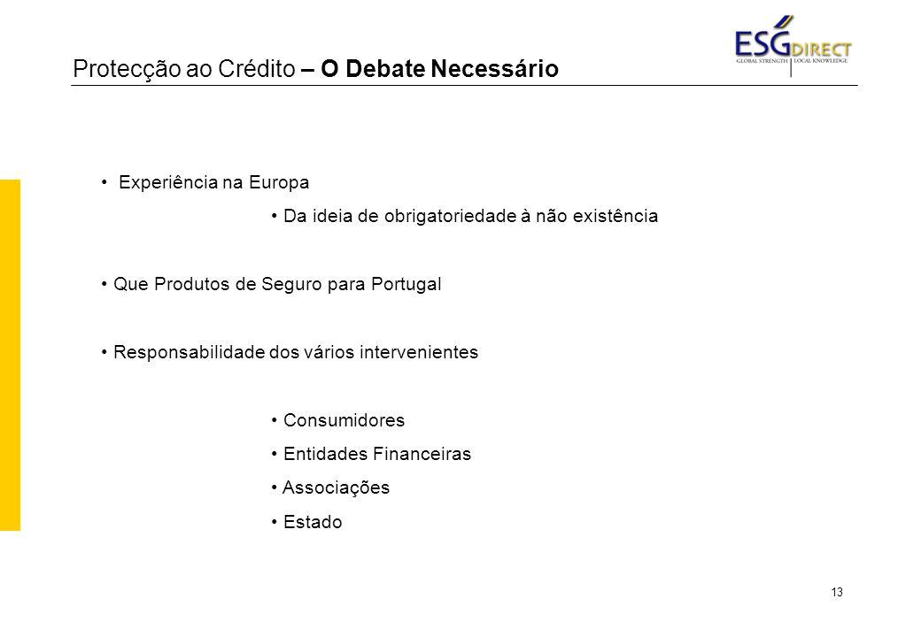 13 Protecção ao Crédito – O Debate Necessário Experiência na Europa Da ideia de obrigatoriedade à não existência Que Produtos de Seguro para Portugal Responsabilidade dos vários intervenientes Consumidores Entidades Financeiras Associações Estado