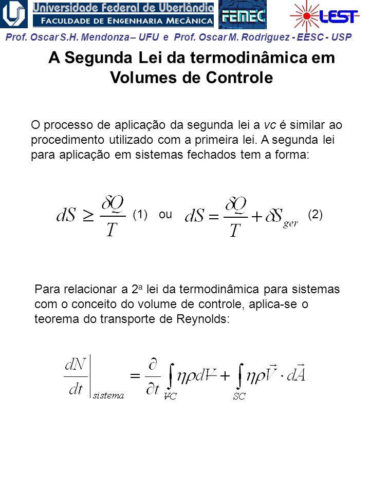 Prof. Oscar S.H. Mendonza – UFU e Prof. Oscar M. Rodriguez - EESC - USP A Segunda Lei da termodinâmica em Volumes de Controle O processo de aplicação