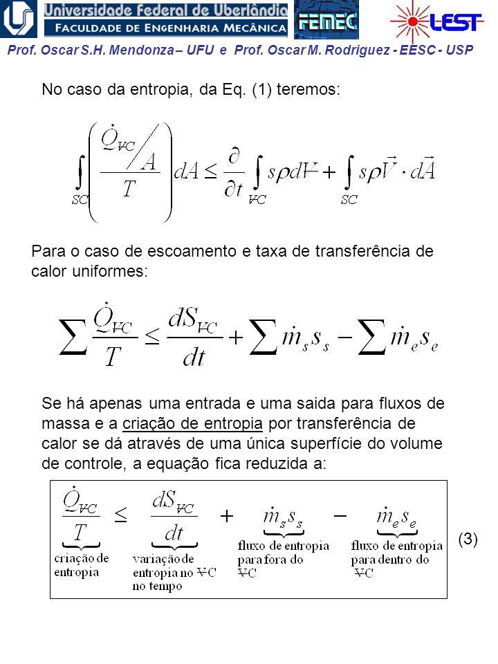Prof. Oscar S.H. Mendonza – UFU e Prof. Oscar M. Rodriguez - EESC - USP No caso da entropia, da Eq. (1) teremos: Para o caso de escoamento e taxa de t