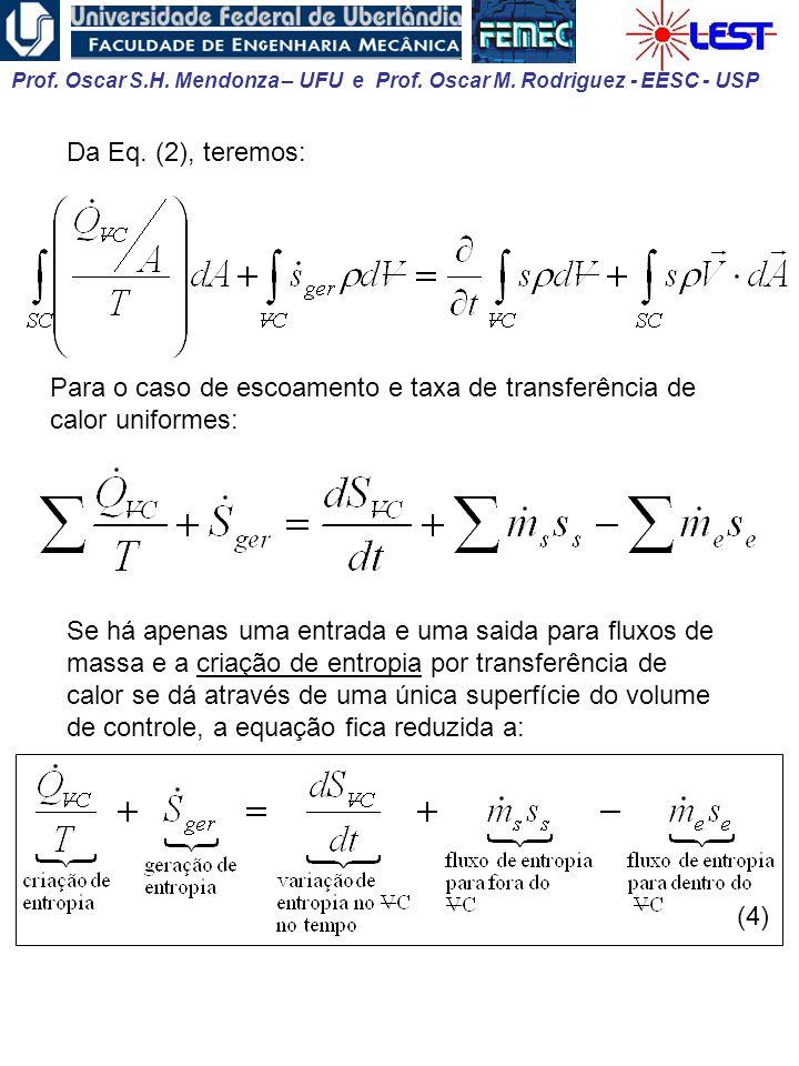 Prof. Oscar S.H. Mendonza – UFU e Prof. Oscar M. Rodriguez - EESC - USP Para o caso de escoamento e taxa de transferência de calor uniformes: Se há ap