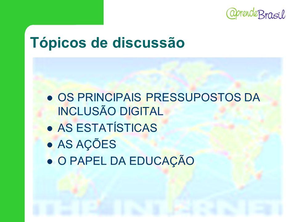 Tópicos de discussão OS PRINCIPAIS PRESSUPOSTOS DA INCLUSÃO DIGITAL AS ESTATÍSTICAS AS AÇÕES O PAPEL DA EDUCAÇÃO