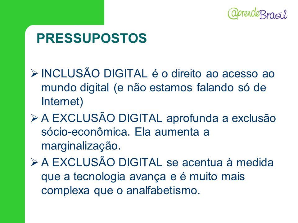 PRESSUPOSTOS INCLUSÃO DIGITAL é o direito ao acesso ao mundo digital (e não estamos falando só de Internet) A EXCLUSÃO DIGITAL aprofunda a exclusão só