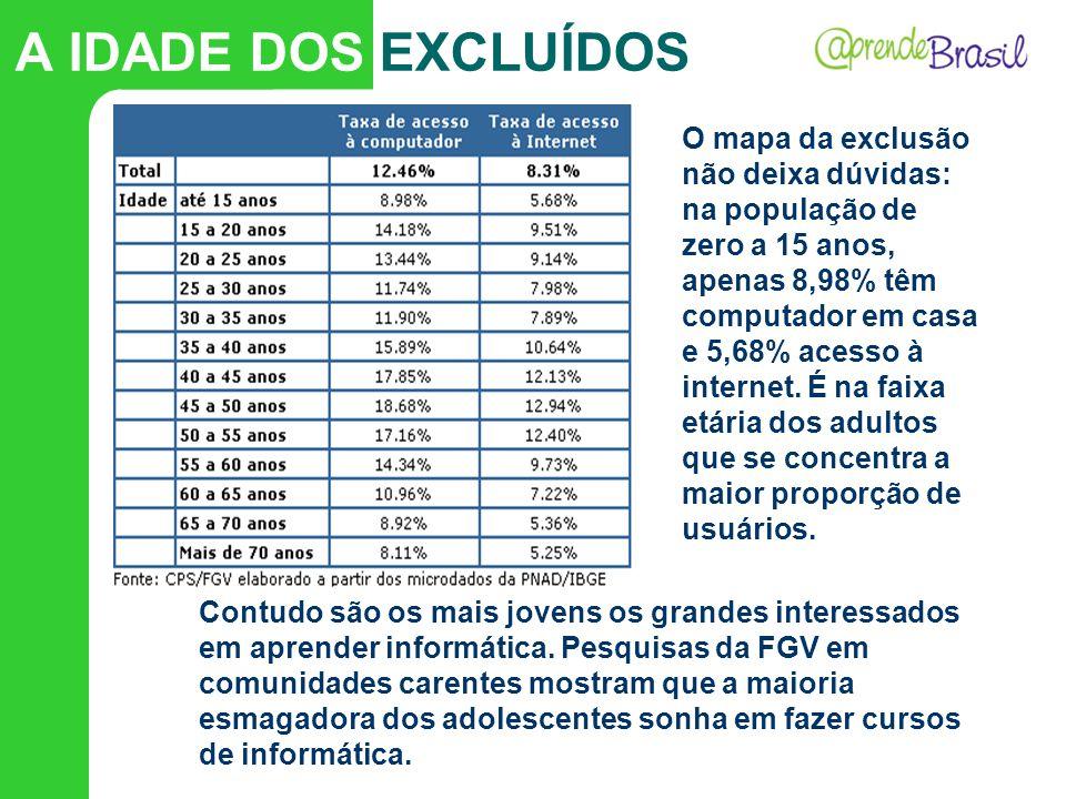 O mapa da exclusão não deixa dúvidas: na população de zero a 15 anos, apenas 8,98% têm computador em casa e 5,68% acesso à internet. É na faixa etária