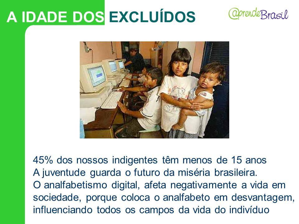 45% dos nossos indigentes têm menos de 15 anos A juventude guarda o futuro da miséria brasileira. O analfabetismo digital, afeta negativamente a vida