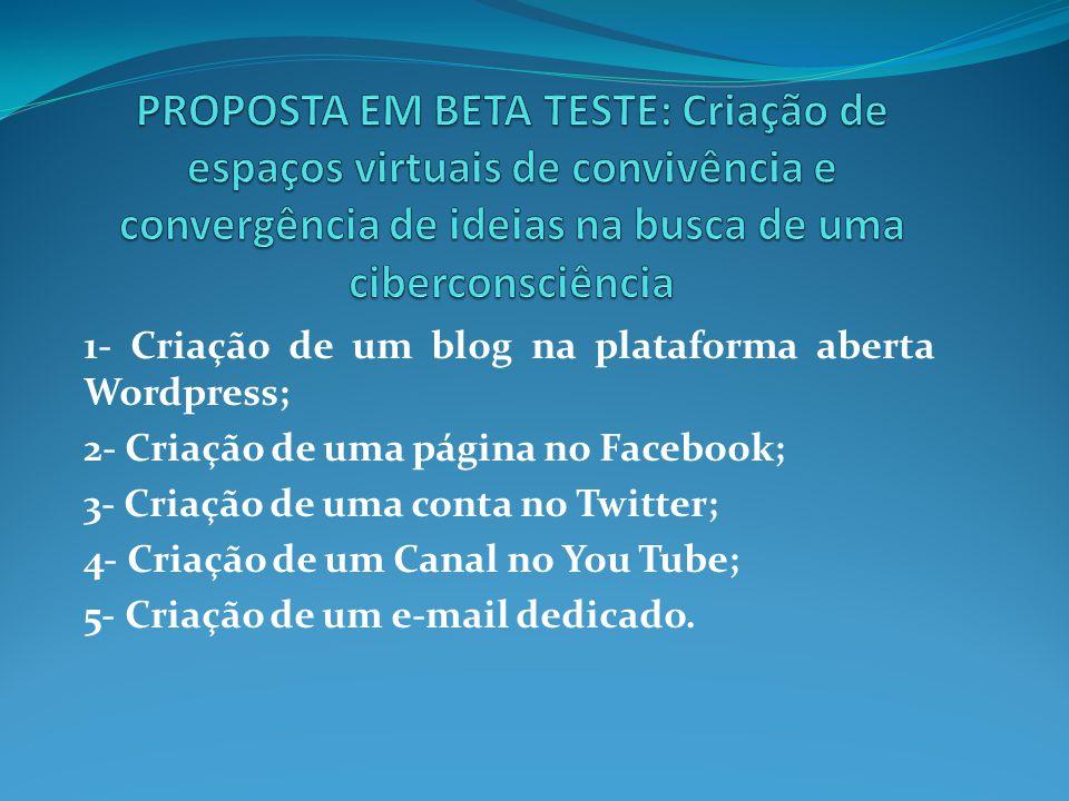 1- Criação de um blog na plataforma aberta Wordpress; 2- Criação de uma página no Facebook; 3- Criação de uma conta no Twitter; 4- Criação de um Canal