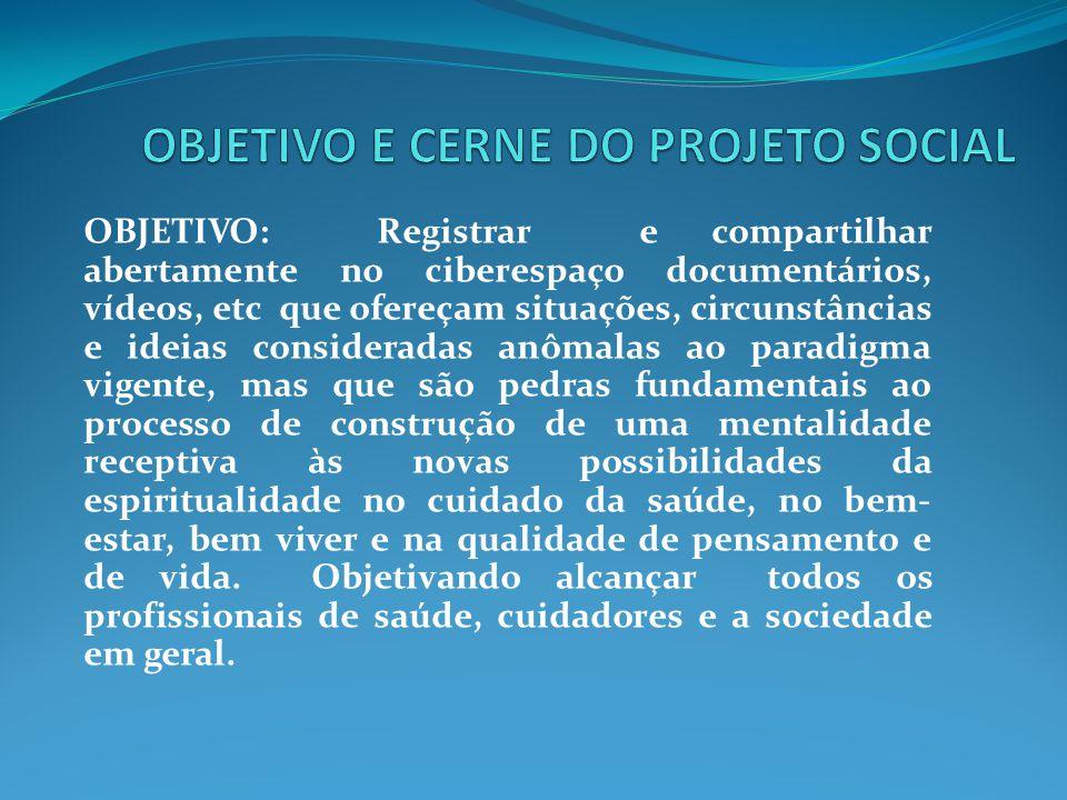 OBJETIVO: Registrar e compartilhar abertamente no ciberespaço documentários, vídeos, etc que ofereçam situações, circunstâncias e ideias consideradas