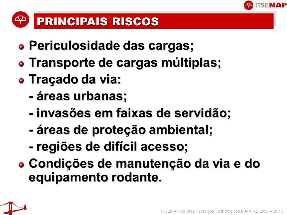 ITSEMAP do Brasil Serviços Tecnológicos MAPFRE Ltda. – 2010 PRINCIPAIS RISCOS Periculosidade das cargas; Transporte de cargas múltiplas; Traçado da vi