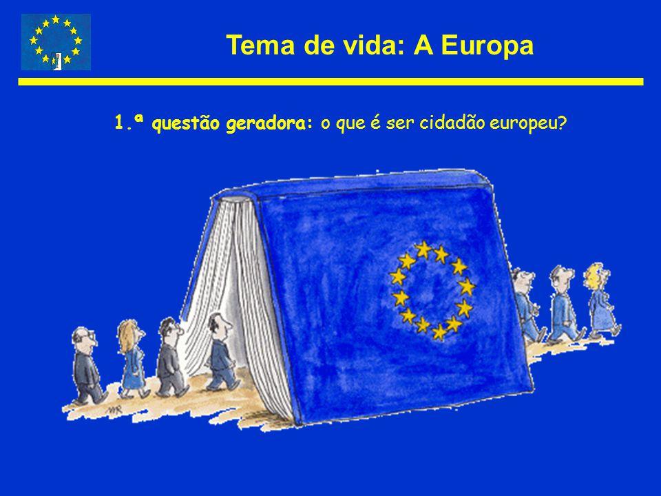 Tema de vida: A Europa 1.ª questão geradora: o que é ser cidadão europeu?