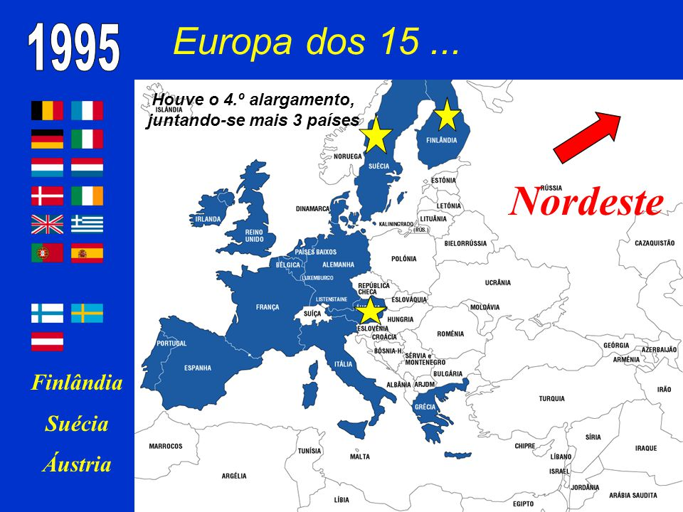 Europa dos 15... Finlândia Suécia Áustria Nordeste Houve o 4.º alargamento, juntando-se mais 3 países