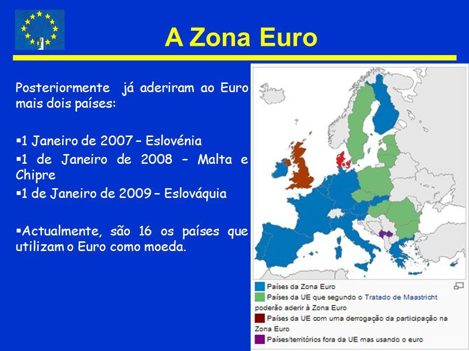 A Zona Euro Posteriormente já aderiram ao Euro mais dois países: 1 Janeiro de 2007 – Eslovénia 1 de Janeiro de 2008 – Malta e Chipre 1 de Janeiro de 2