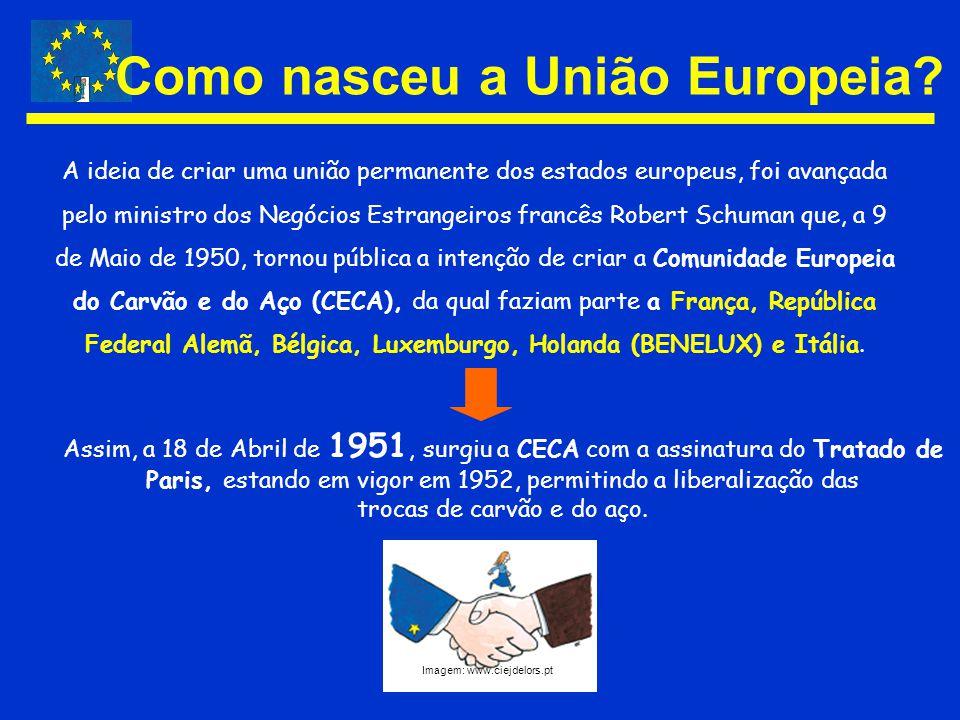 A ideia de criar uma união permanente dos estados europeus, foi avançada pelo ministro dos Negócios Estrangeiros francês Robert Schuman que, a 9 de Ma