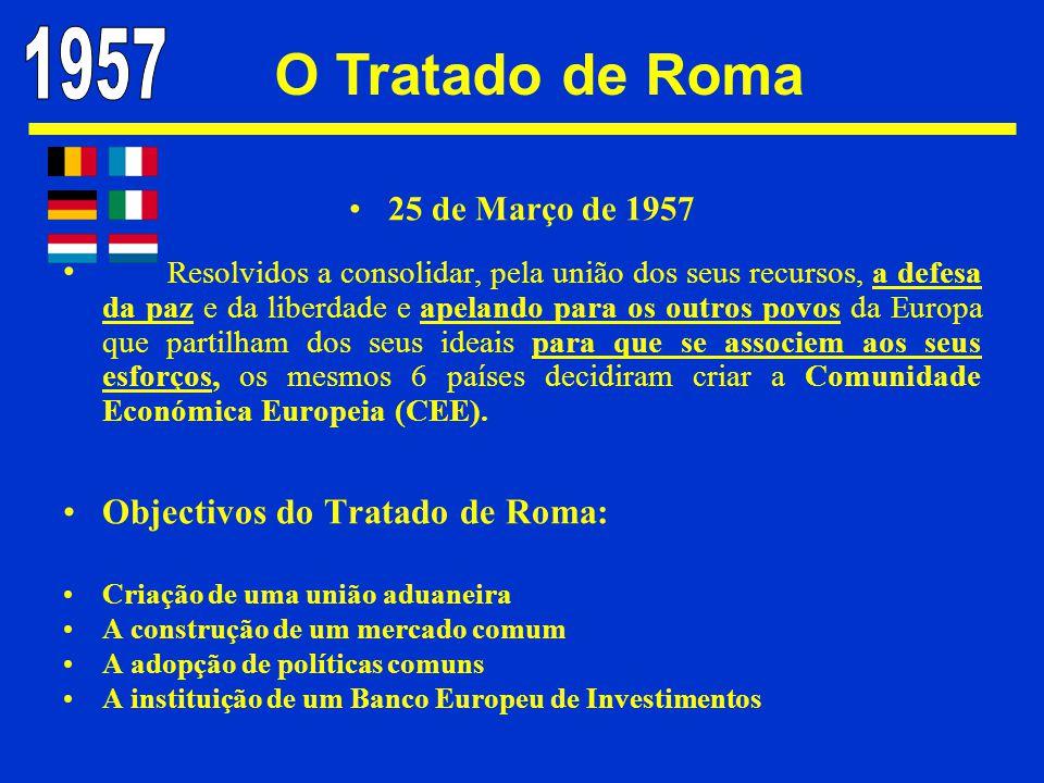 25 de Março de 1957 Resolvidos a consolidar, pela união dos seus recursos, a defesa da paz e da liberdade e apelando para os outros povos da Europa qu