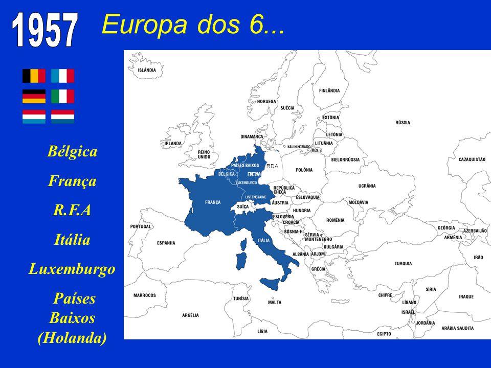 Europa dos 6... Bélgica França R.F.A Itália Luxemburgo Países Baixos (Holanda) Não há futuro no orgulhosamente sós RDA RFA