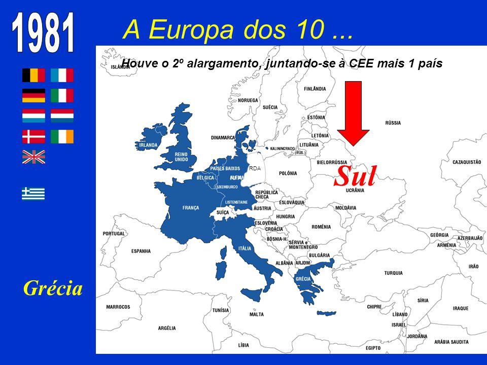 A Europa dos 10... Grécia RDA RFA Houve o 2º alargamento, juntando-se à CEE mais 1 país Sul