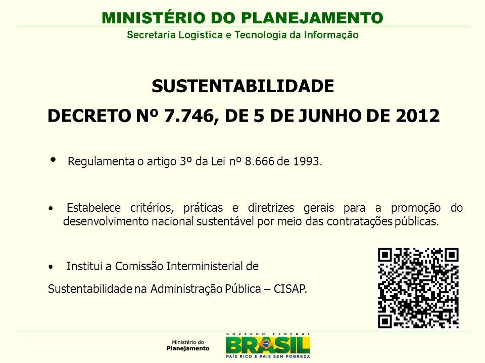 MINISTÉRIO DO PLANEJAMENTO SUSTENTABILIDADE DECRETO Nº 7.746, DE 5 DE JUNHO DE 2012 Regulamenta o artigo 3º da Lei nº 8.666 de 1993.