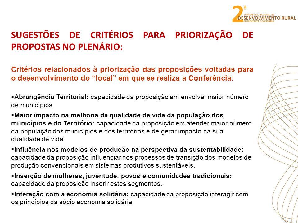 SUGESTÕES DE CRITÉRIOS PARA PRIORIZAÇÃO DE PROPOSTAS NO PLENÁRIO: Critérios relacionados à priorização das proposições voltadas para o desenvolvimento do local em que se realiza a Conferência: Abrangência Territorial: capacidade da proposição em envolver maior número de municípios.