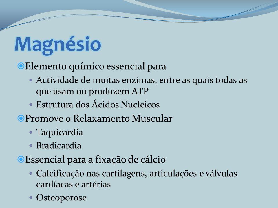 Elemento químico essencial para Actividade de muitas enzimas, entre as quais todas as que usam ou produzem ATP Estrutura dos Ácidos Nucleicos Promove