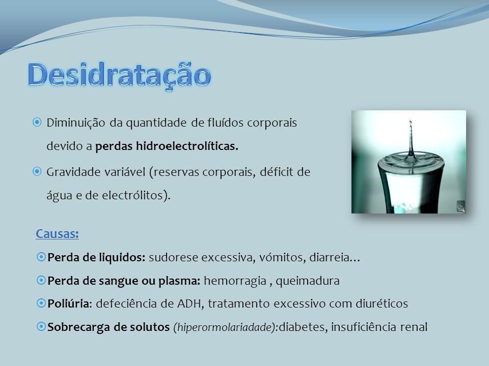 Diminuição da quantidade de fluídos corporais devido a perdas hidroelectrolíticas. Gravidade variável (reservas corporais, déficit de água e de electr