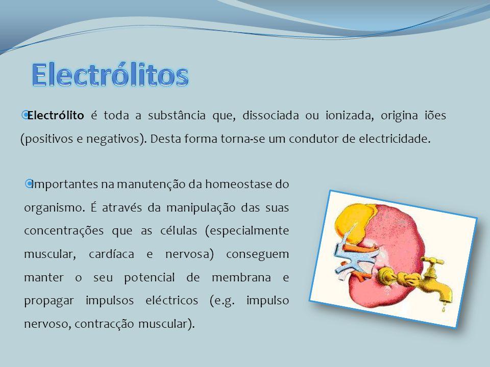 Electrólito é toda a substância que, dissociada ou ionizada, origina iões (positivos e negativos). Desta forma torna-se um condutor de electricidade.