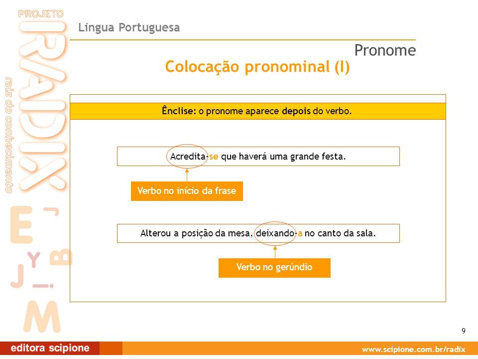 Língua Portuguesa www.scipione.com.br/radix Colocação pronominal (I) Ênclise: o pronome aparece depois do verbo.