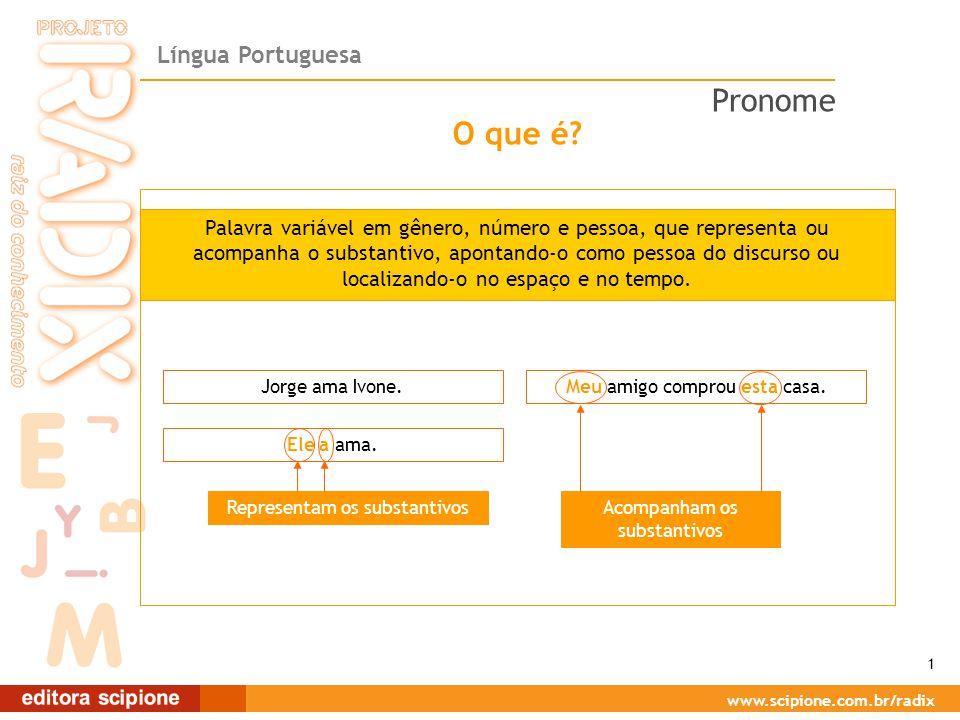Língua Portuguesa www.scipione.com.br/radix O que é? Palavra variável em gênero, número e pessoa, que representa ou acompanha o substantivo, apontando