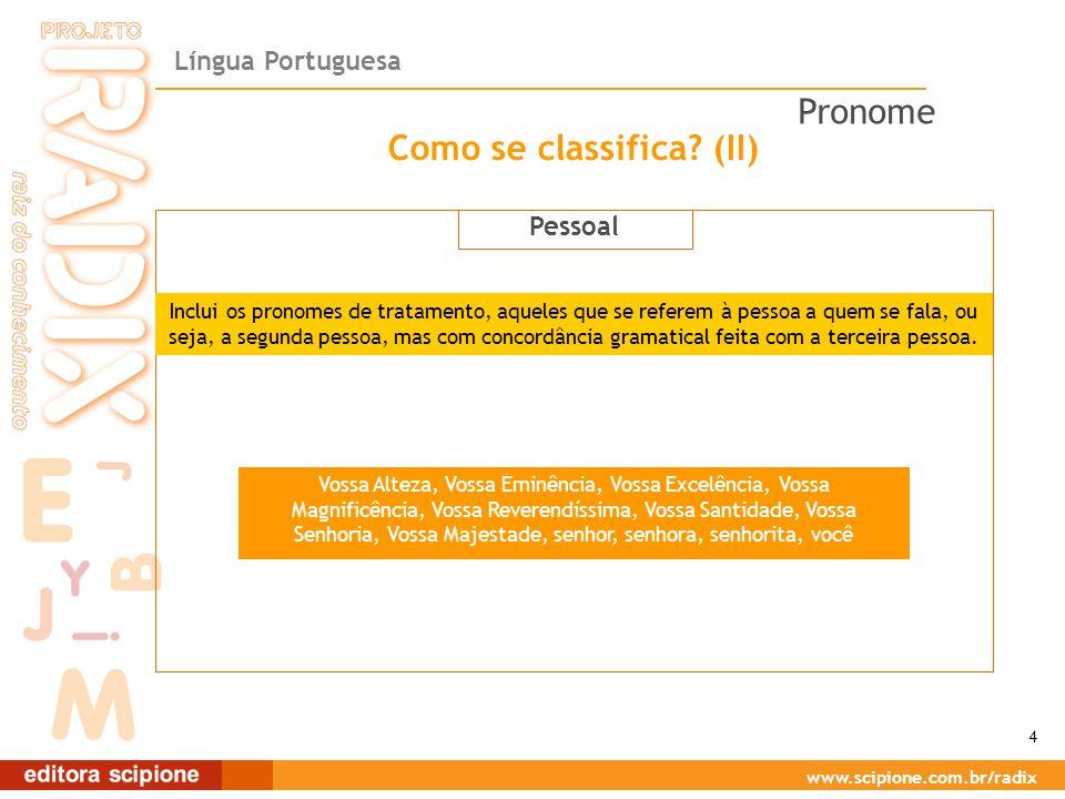 Língua Portuguesa www.scipione.com.br/radix Como se classifica? (II) Pessoal Inclui os pronomes de tratamento, aqueles que se referem à pessoa a quem