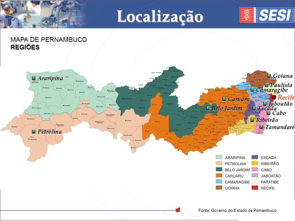 © 2008 – SESI DR/PE – www.pe.sesi.org.br Localização MAPA DE PERNAMBUCO REGIÕES Fonte: Governo do Estado de Pernambuco Araripina Araripina Petrolina P