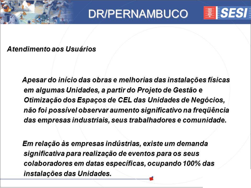 © 2008 – SESI DR/PE – www.pe.sesi.org.br Atendimento aos Usuários Apesar do início das obras e melhorias das instalações físicas em algumas Unidades,