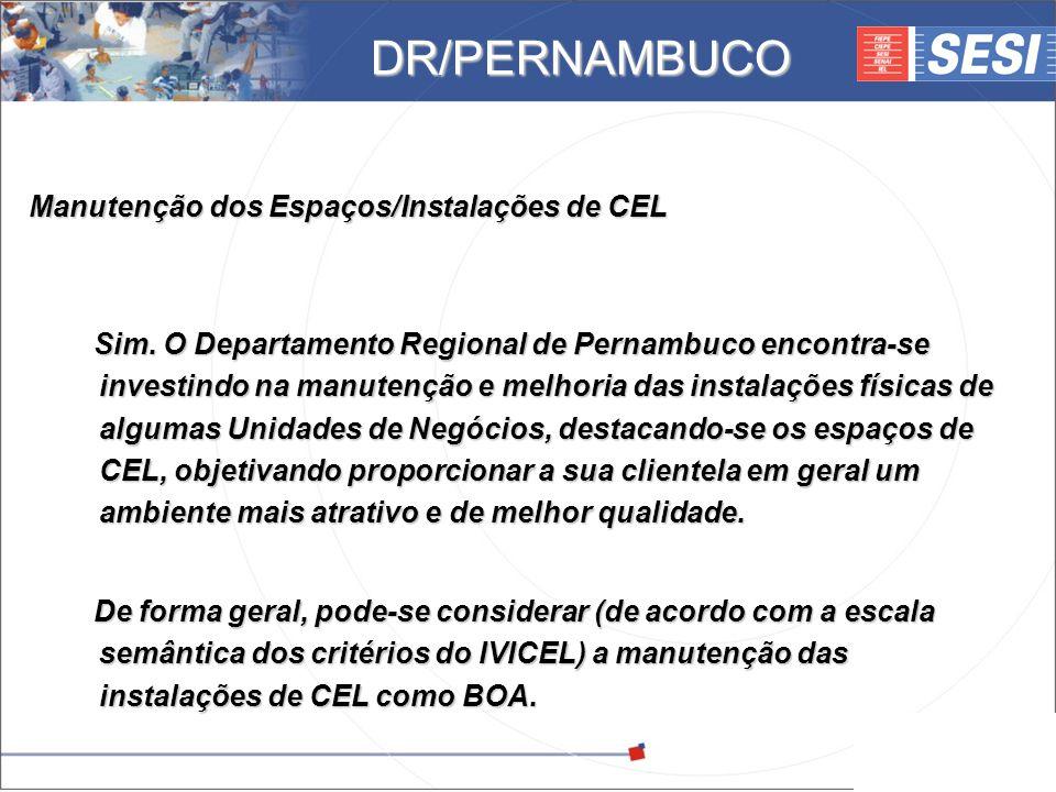 © 2008 – SESI DR/PE – www.pe.sesi.org.br Manutenção dos Espaços/Instalações de CEL Sim. O Departamento Regional de Pernambuco encontra-se investindo n