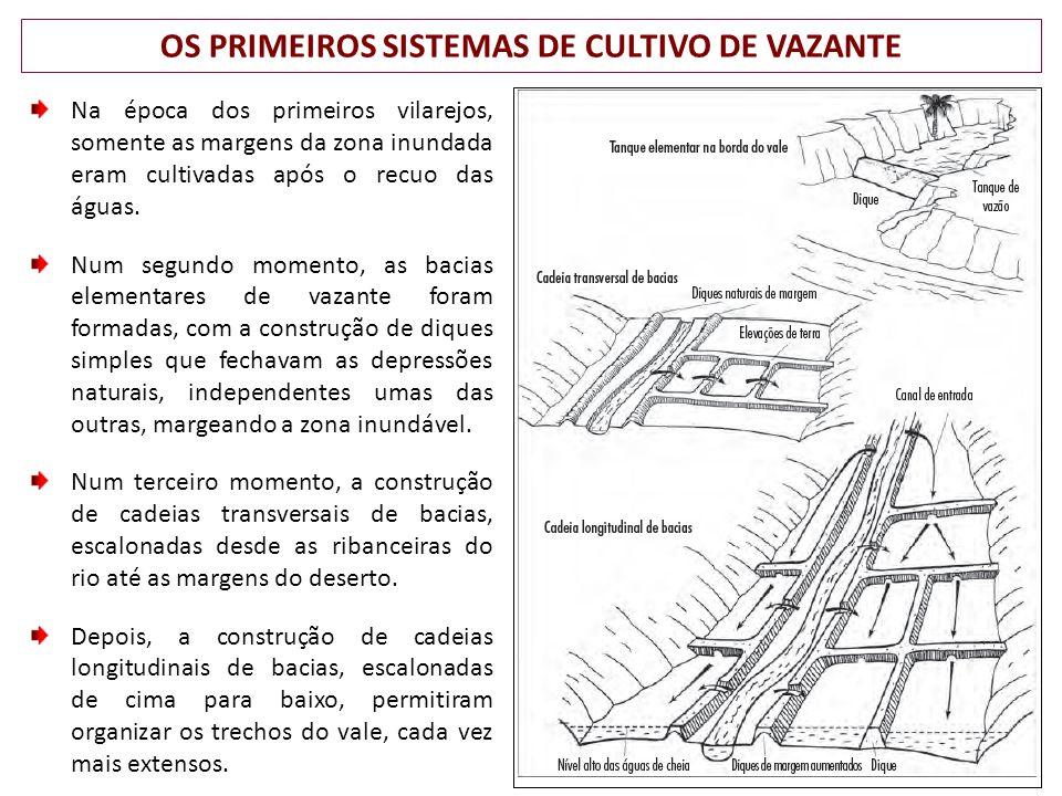 OS PRIMEIROS SISTEMAS DE CULTIVO DE VAZANTE Na época dos primeiros vilarejos, somente as margens da zona inundada eram cultivadas após o recuo das águas.