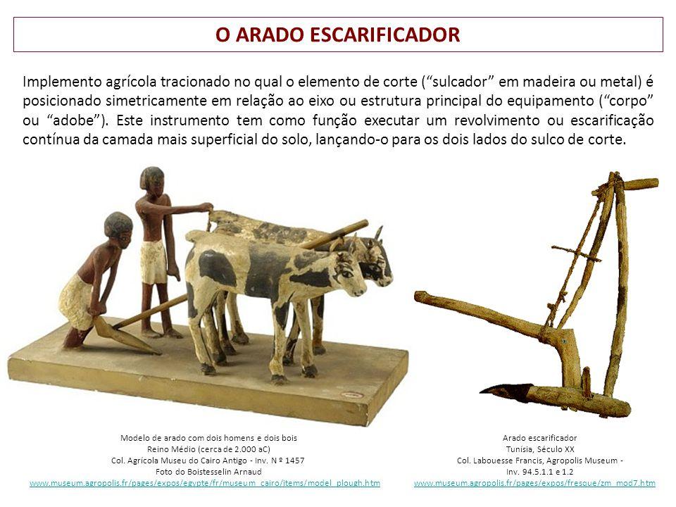 O ARADO ESCARIFICADOR Modelo de arado com dois homens e dois bois Reino Médio (cerca de 2.000 aC) Col.