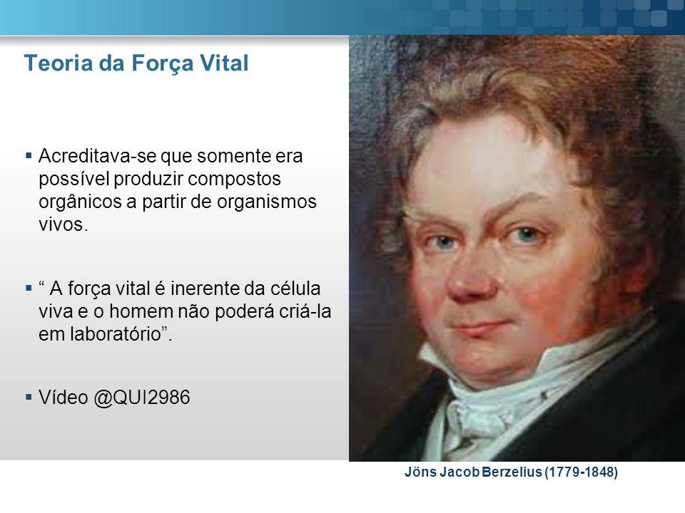 Teoria da Força Vital Acreditava-se que somente era possível produzir compostos orgânicos a partir de organismos vivos. A força vital é inerente da cé