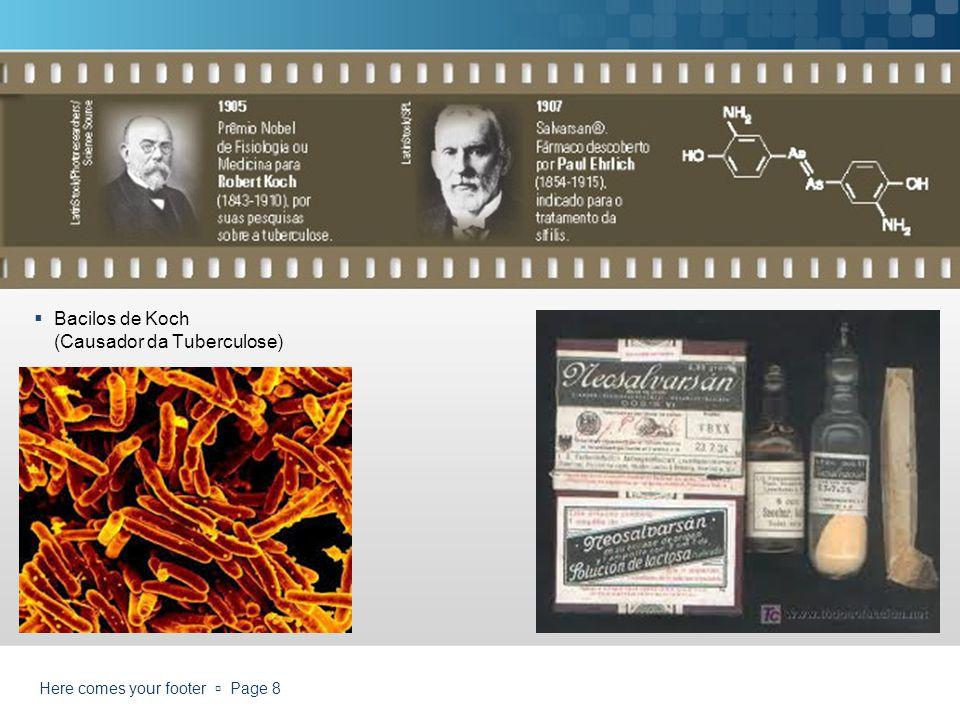 Bacilos de Koch (Causador da Tuberculose) Here comes your footer Page 8
