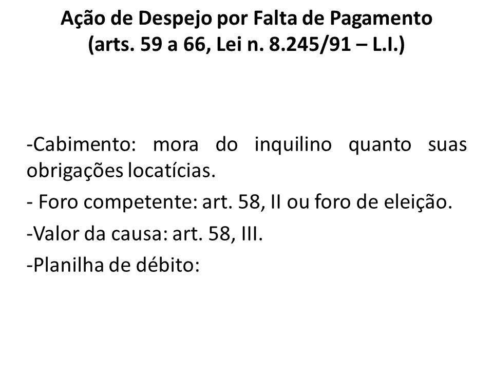 Ação de Despejo por Falta de Pagamento (arts. 59 a 66, Lei n. 8.245/91 – L.I.) -Cabimento: mora do inquilino quanto suas obrigações locatícias. - Foro