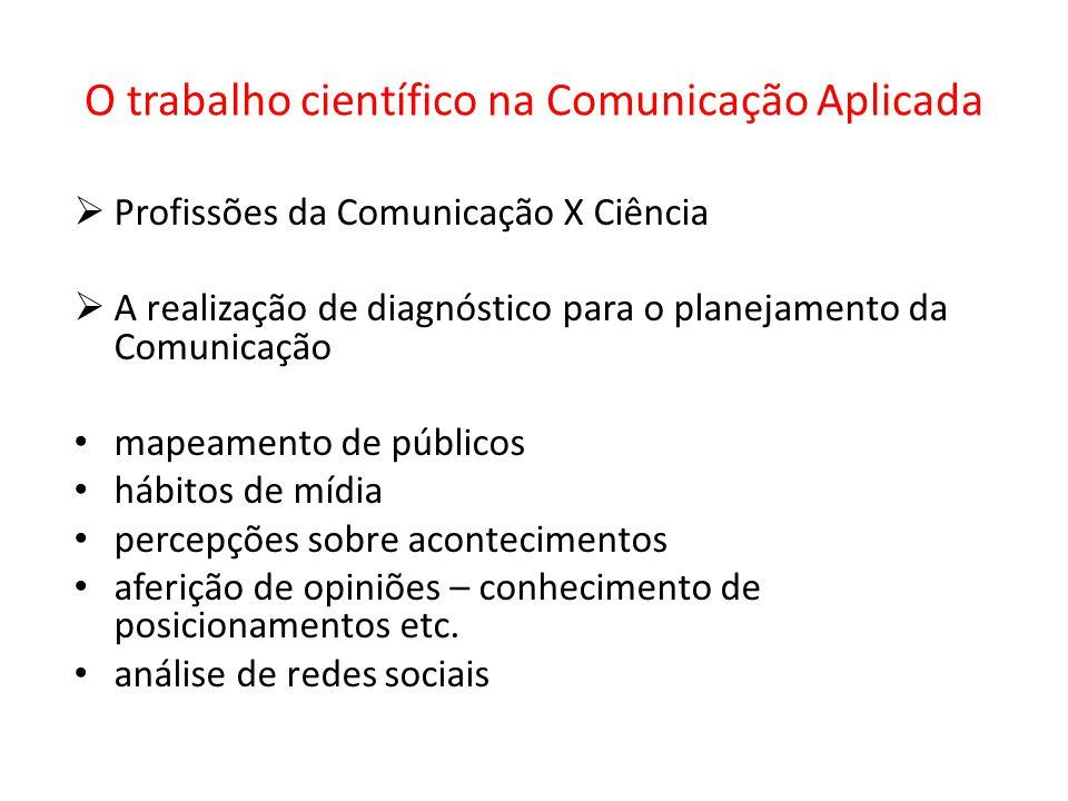 O trabalho científico na Comunicação Aplicada Profissões da Comunicação X Ciência A realização de diagnóstico para o planejamento da Comunicação mapea