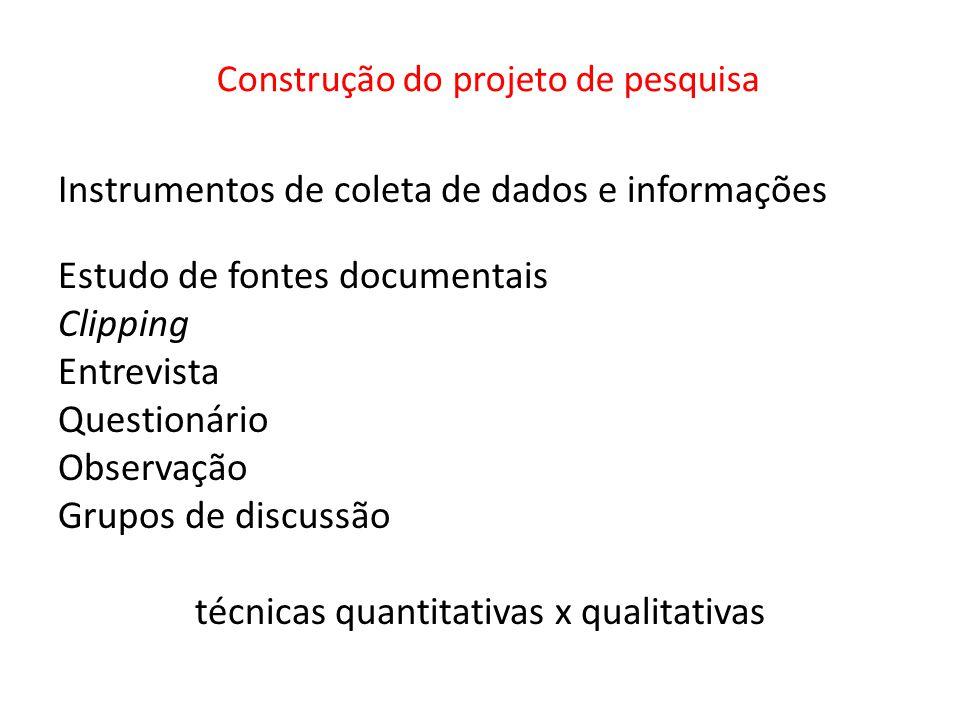 Construção do projeto de pesquisa Instrumentos de coleta de dados e informações Estudo de fontes documentais Clipping Entrevista Questionário Observaç