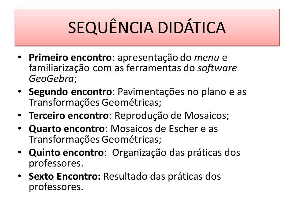SEQUÊNCIA DIDÁTICA Primeiro encontro: apresentação do menu e familiarização com as ferramentas do software GeoGebra; Segundo encontro: Pavimentações n
