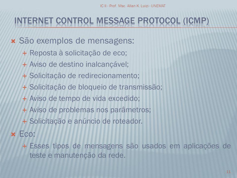 São exemplos de mensagens: Reposta à solicitação de eco; Aviso de destino inalcançável; Solicitação de redirecionamento; Solicitação de bloqueio de tr