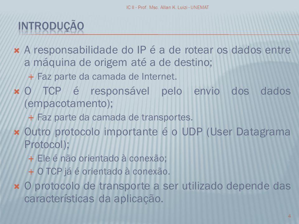 A responsabilidade do IP é a de rotear os dados entre a máquina de origem até a de destino; Faz parte da camada de Internet. O TCP é responsável pelo