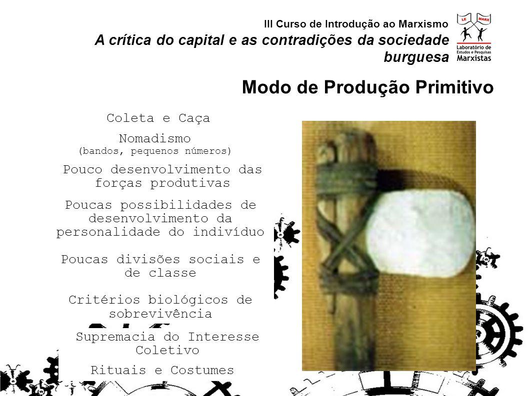 Nomadismo (bandos, pequenos números) Coleta e Caça Supremacia do Interesse Coletivo Pouco desenvolvimento das forças produtivas Poucas possibilidades