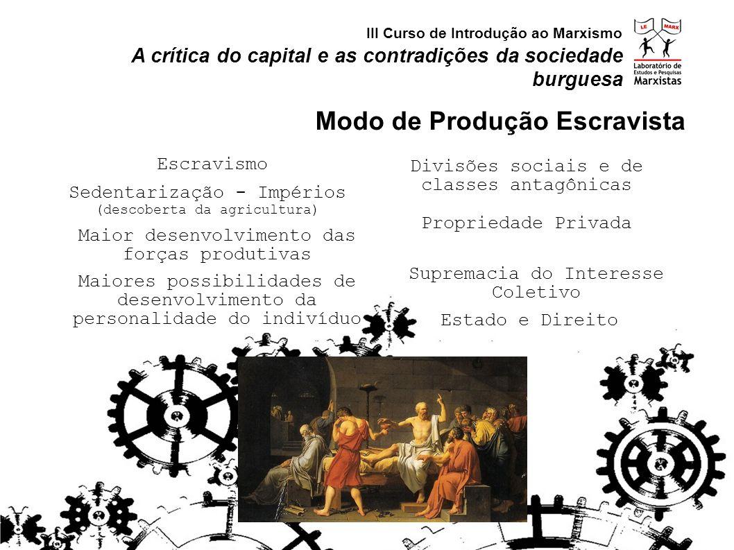 Sedentarização - Impérios (descoberta da agricultura) Escravismo Supremacia do Interesse Coletivo Maior desenvolvimento das forças produtivas Divisões