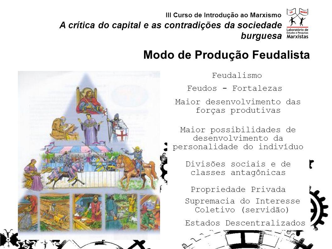 Feudos - Fortalezas Feudalismo Supremacia do Interesse Coletivo (servidão) Maior desenvolvimento das forças produtivas Maior possibilidades de desenvo