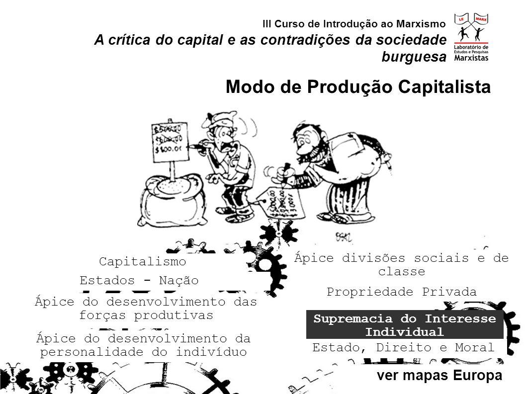 Estados - Nação Capitalismo Supremacia do Interesse Individual Ápice do desenvolvimento das forças produtivas Ápice divisões sociais e de classe Propr