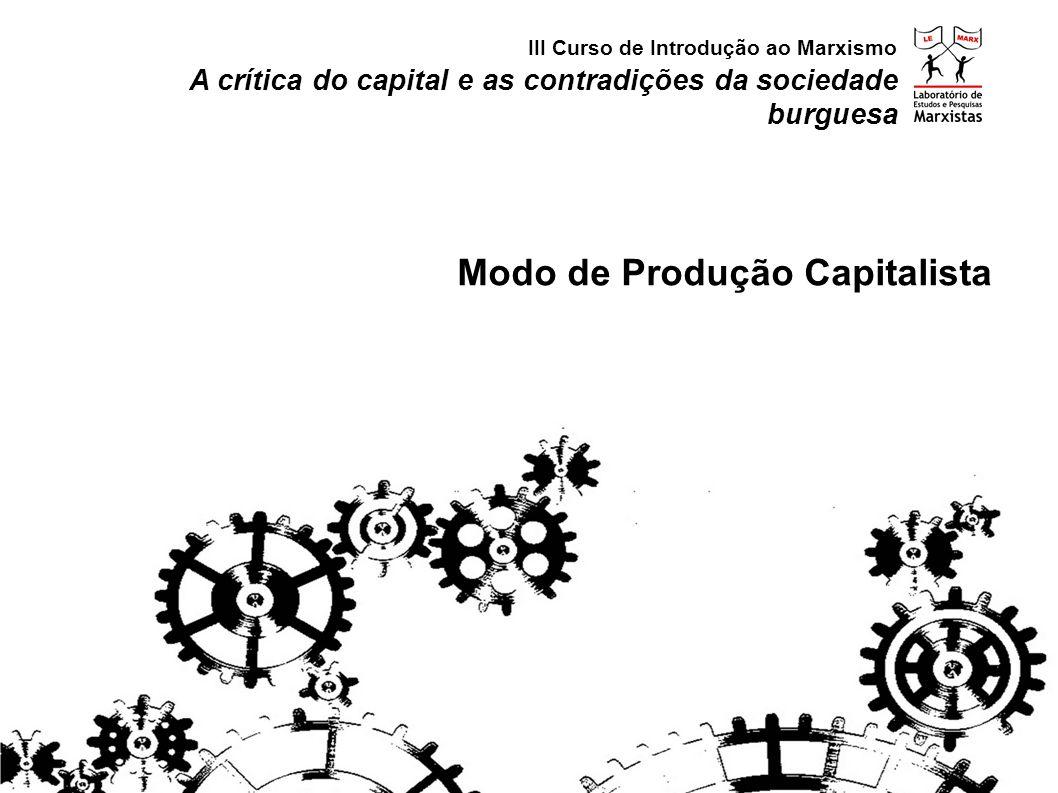 A crítica do capital e as contradições da sociedade burguesa Modo de Produção Capitalista III Curso de Introdução ao Marxismo