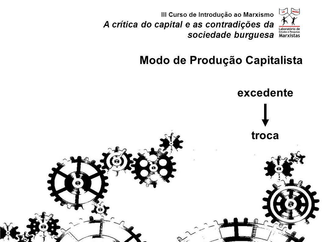 excedente A crítica do capital e as contradições da sociedade burguesa III Curso de Introdução ao Marxismo Modo de Produção Capitalista troca