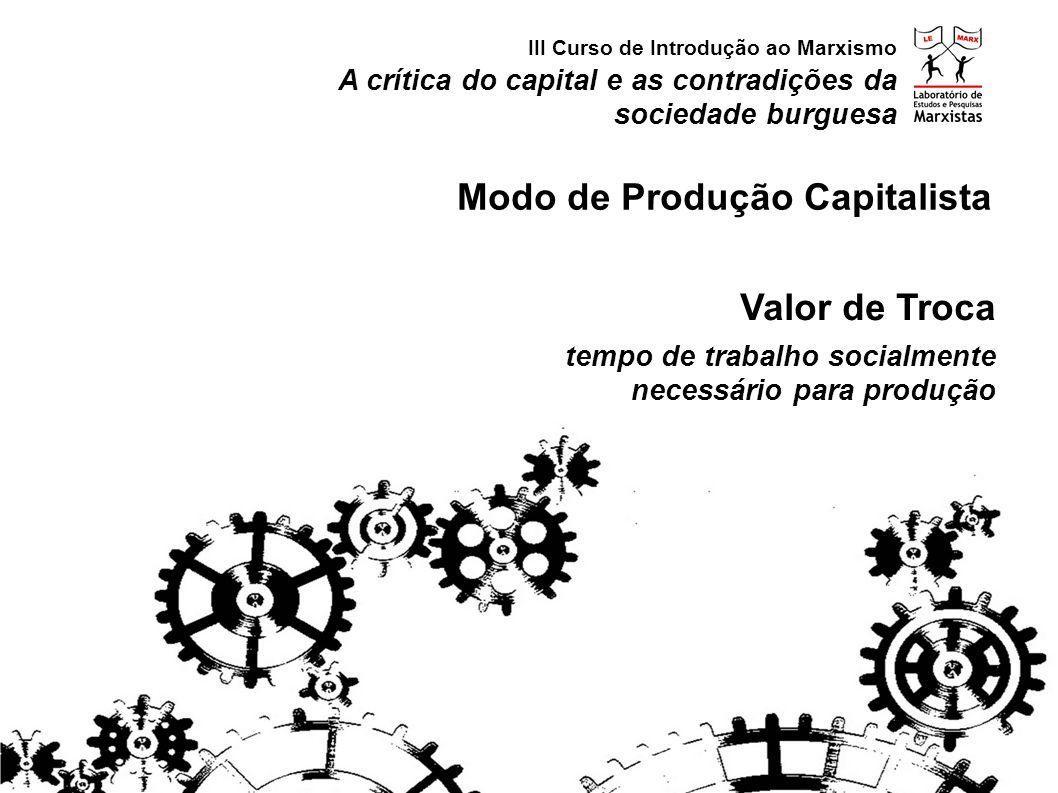 A crítica do capital e as contradições da sociedade burguesa III Curso de Introdução ao Marxismo Modo de Produção Capitalista Valor de Troca tempo de