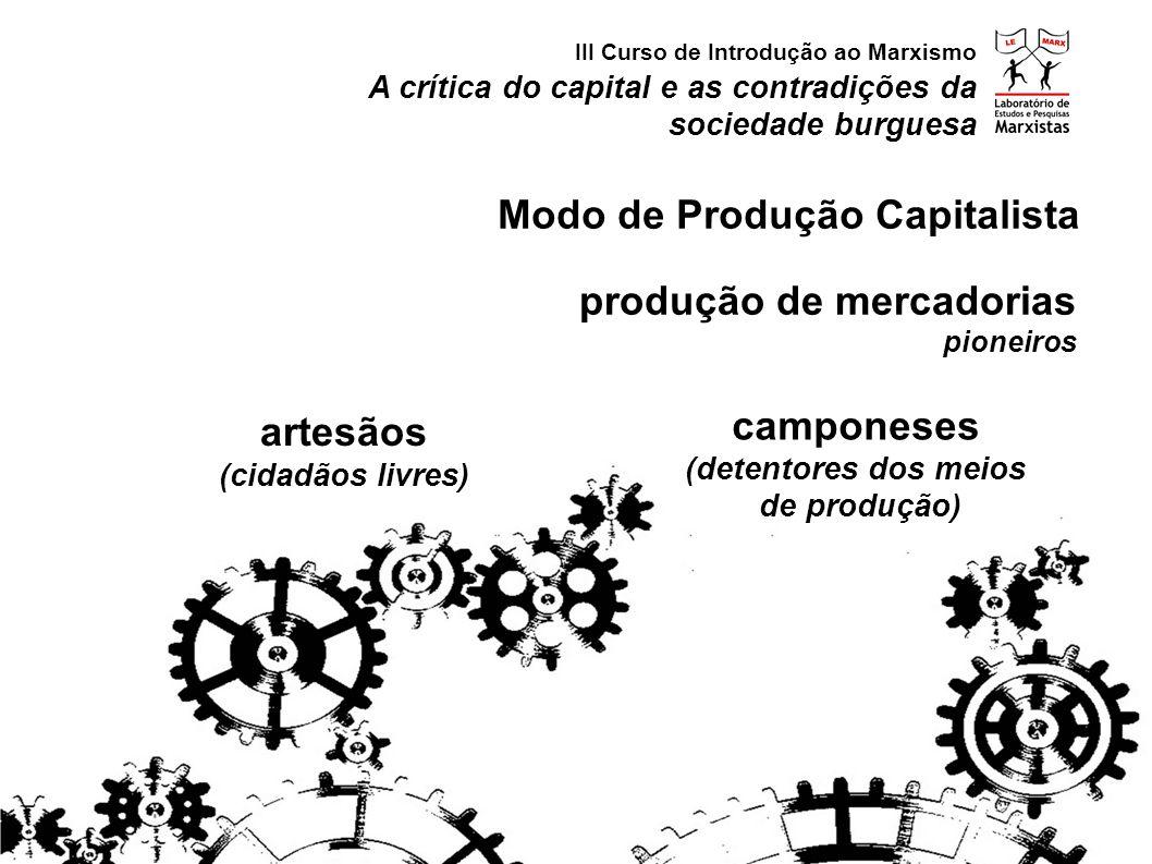 artesãos (cidadãos livres) camponeses (detentores dos meios de produção) produção de mercadorias pioneiros A crítica do capital e as contradições da sociedade burguesa III Curso de Introdução ao Marxismo Modo de Produção Capitalista