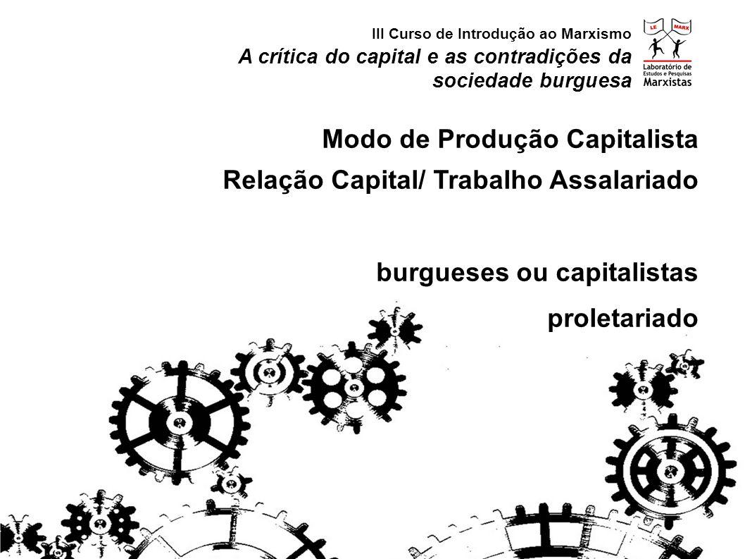 A crítica do capital e as contradições da sociedade burguesa III Curso de Introdução ao Marxismo Modo de Produção Capitalista Relação Capital/ Trabalho Assalariado burgueses ou capitalistas proletariado